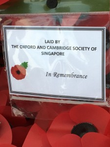 Wreath laid by our President Paul Supramaniam on behalf of the society at Kranji this morning .